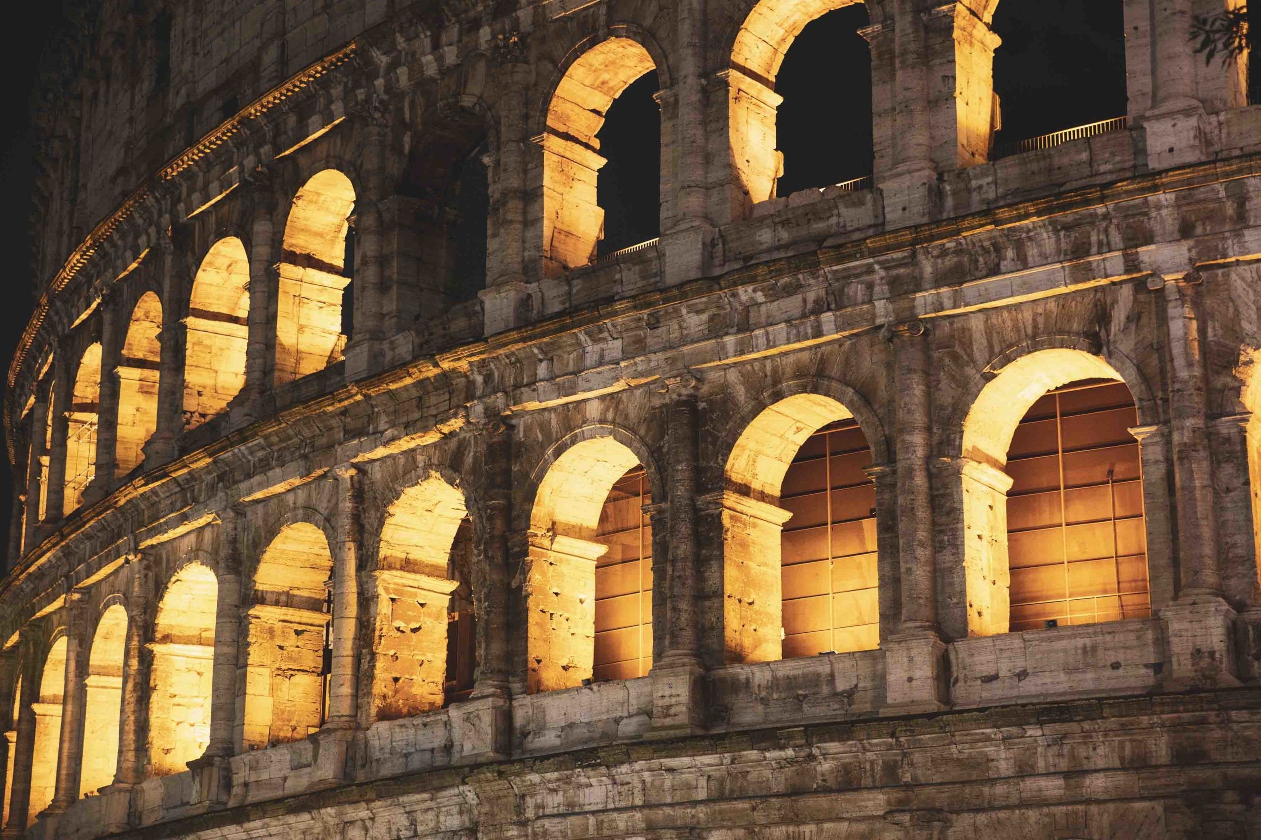 Roma, Italy, 24/11/2019: Night photo of the ancient Colosseum of Rome located in the city center, travel reports